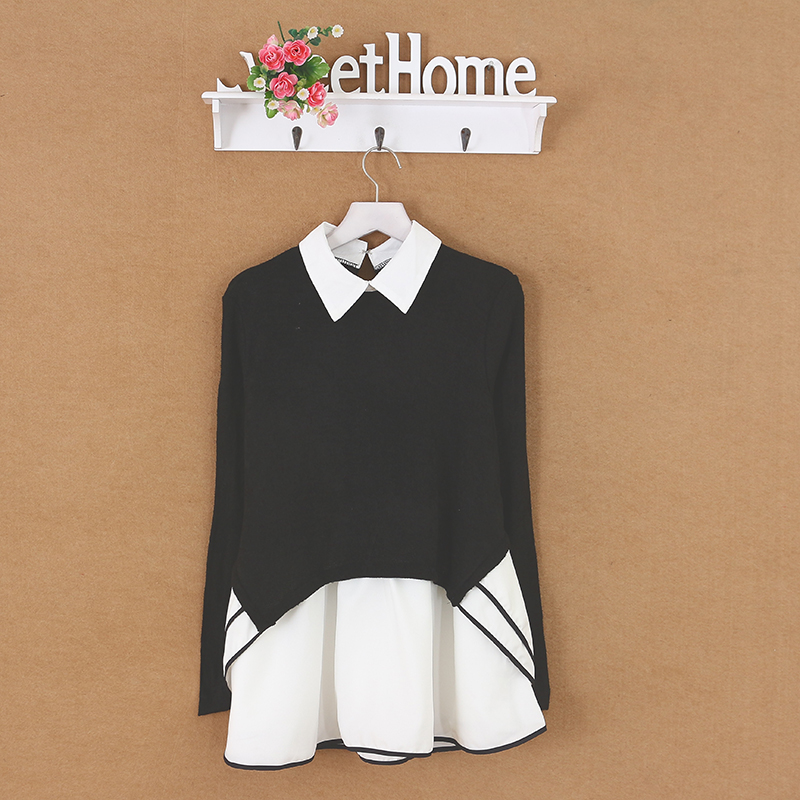 Ms. Dan Yubo Peter Pan Ling South Korea lined the north wall long sleeved sweater stitching georgette(China (Mainland))