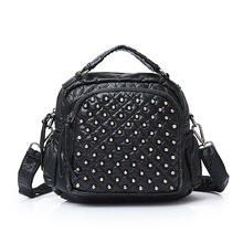 Vintage Lady Messenger Bag handbags woman Leather handbag motorcycle bags Women Rivet bag fashion soft shoulder crosbody bags