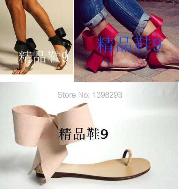 Фотография 2015 New Hot Selling   Big Bow Tie Flat Sandal Sexy Print Leather Clip-toe