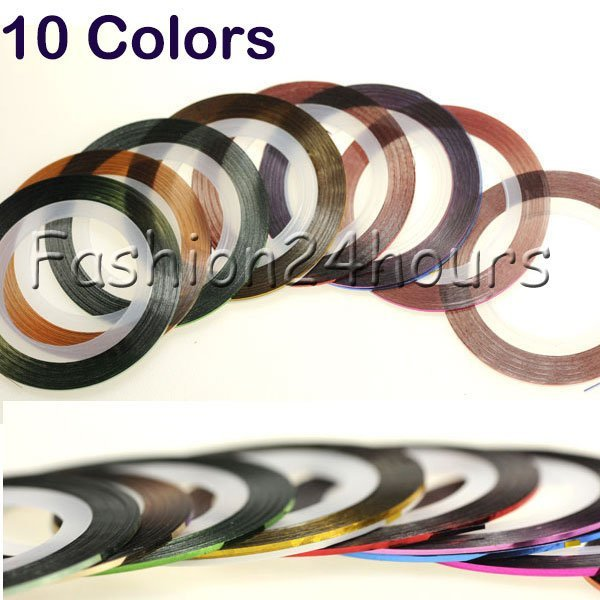 Fashion 10 Color Rolls Strip Striping Tape Line Nail Art Tips Decoration Sticker DIY Free Shipping