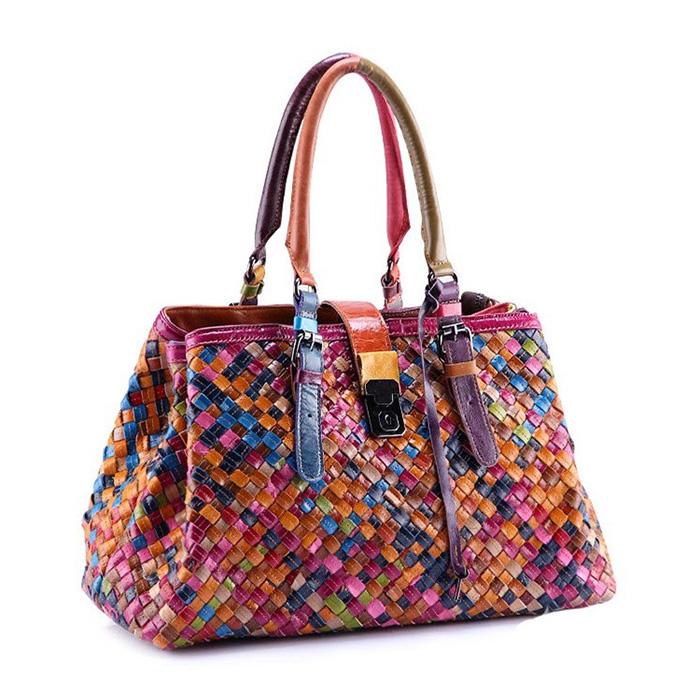 Multicolour Genuine Leather Bags 2015 New Weave Handbag Fashion Shoulder Bag Colorful Women Designer Tote Bolsas - REDBERRY WOMEN LEATHER BAGS STORE store