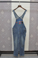 Fashion Cotton Women Overalls Fall Winter Woman Jeans with Embroidery Mid Waist Denim Overalls Women(China (Mainland))