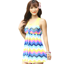 Wave Striped Print One Piece Large Size Swimwear Cover Ups Loose Waist Swimming Suit For Women Patchwork Swimsuit Banador DA30