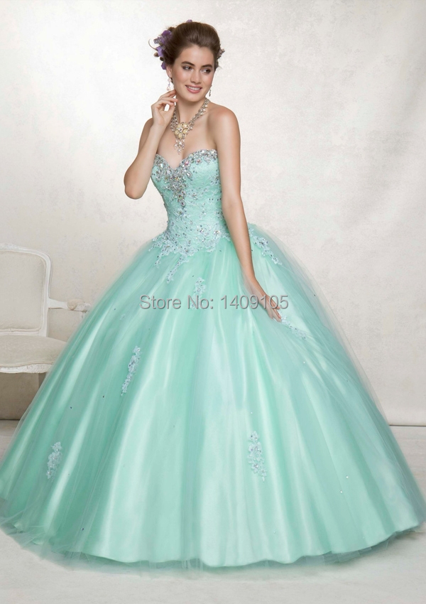 Elegant Ball Gown Sweetheart Tulle Appliques beads Mint Green Quinceanera Dress with Detachable Jacket(China (Mainland))