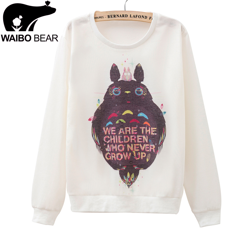 Hot Sale Fashion Women Sweatshirts Totoro Printed Pullovers Harajuku Cartoon Hoodies Casual Thin Long Sleeve Tracksuit Women(China (Mainland))