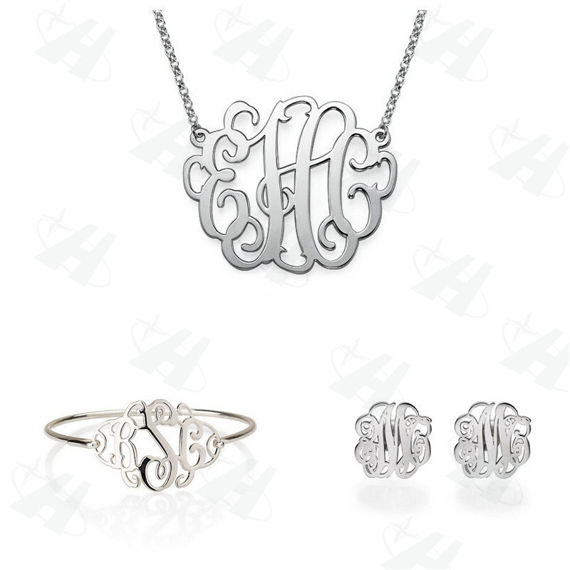Custom Monogram Jewelry Sets Fashion African Jewelry Set Silver Plated Bridal Celebrity Jewelry, Bridesmaid Gift(China (Mainland))