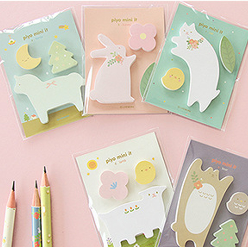 5 pcs/lot animals memo pad paper sticker post it sticky notes kawaii stationery papelaria material escolar school supplies(China (Mainland))