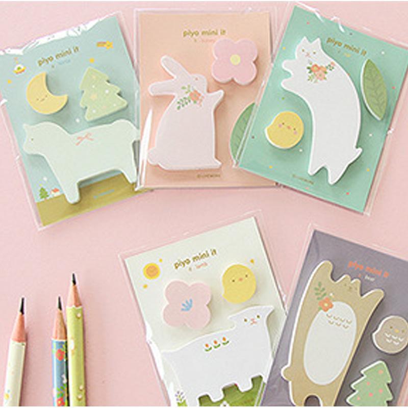 5 pcs/lot animals memo pad paper sticker post it sticky notes kawaii stationery papelaria material escolar school supplies(China (Mainland))