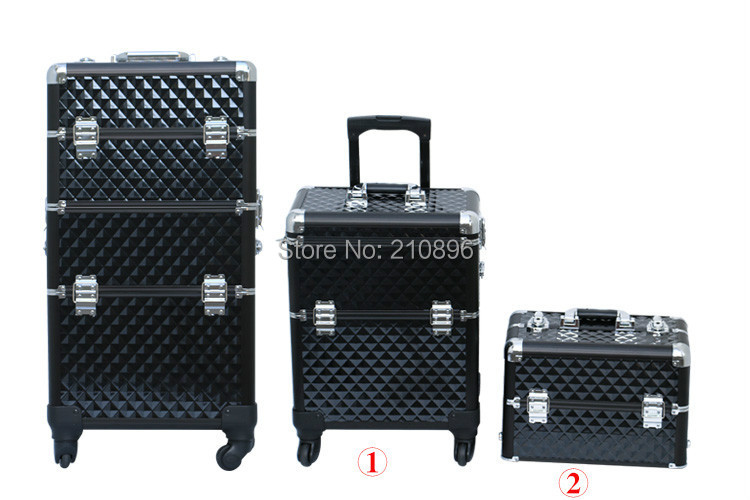 Aluminum 2 in 1 Beauty Case makeup case with trays Trolley cosmetic box 4 Colours(China (Mainland))
