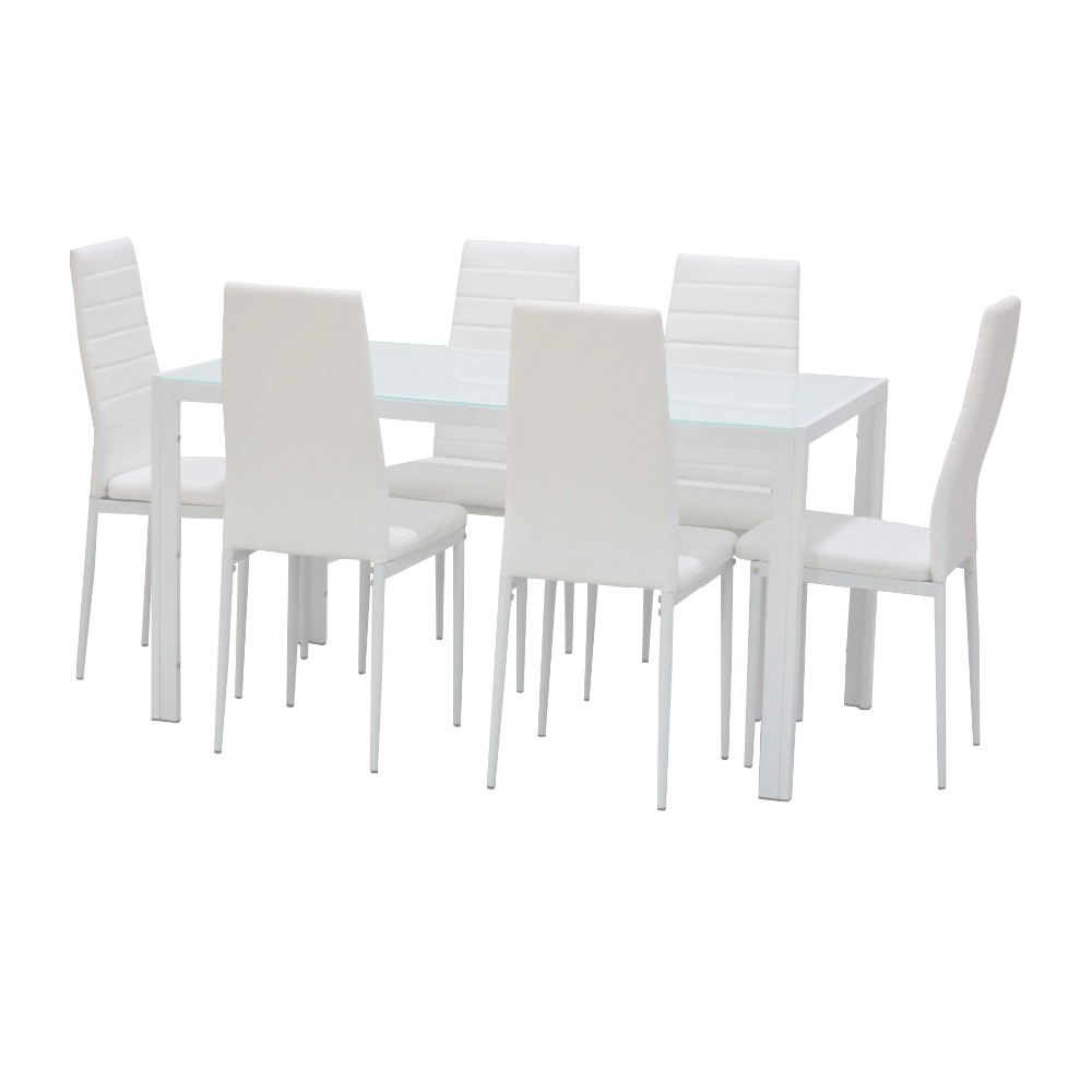 1 set Elegant white color 7-Piece Home Dining Kitchen Furniture Set with Glass Top Metal Leg & Frame Dinning room Table & Chair(China (Mainland))