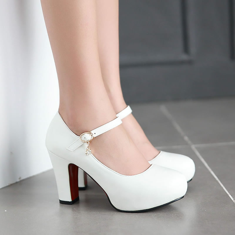 White Thick Heel Shoes