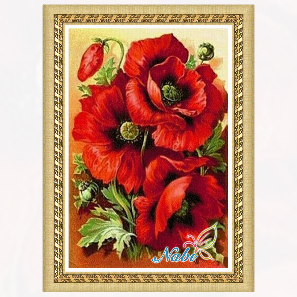 flowers canvas dmc beadwork 0097R - Round Diamond embroidery cross stitch diamond mosaic painting