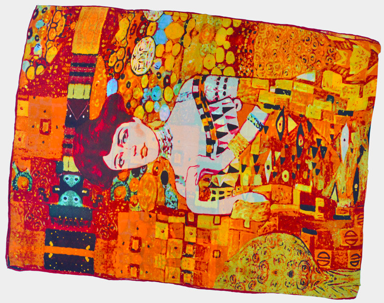 100% Silk Georgette Satin Scarf 65cm*170cm Long Shawl Pure Silk Scarves New Desigual Autumn&Winter Printed Pattern Golden