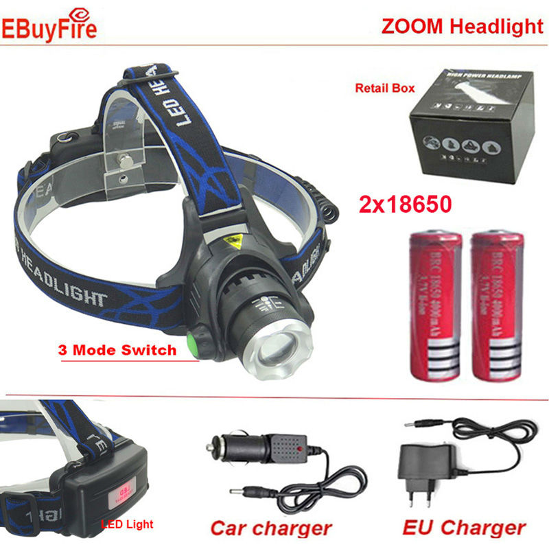 LED Headlight CREE T6 18650 rechargeable Headlamp zoom 2000 Lumens waterproof zoomable Head lamp 4000mah Battery Charger - EBuyFire shenzhen flashLight store