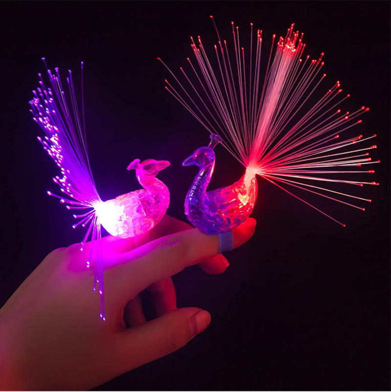 LED Peacock Finger Ring Party Peacock Led Fiber Bright Lights Beam Torch Fun Flashing Event & Party Supplies peacock design(China (Mainland))