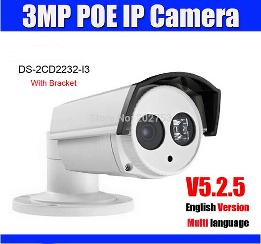 DS-2CD2232-I3 3.0MP POE IP Camera Similar to DS-2CD2232-I5 30m IR Range V5.2.5 1080P CCTV Camera With Bracket Built-in POE(China (Mainland))