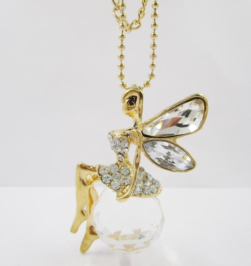 Buy RF Golden rhinestone crystal long Angnel Pendant ...