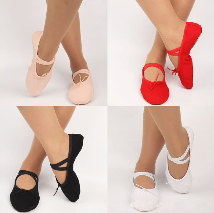 Soft Ladies Canvas Ballet Dancing Fitness Shoes Gymnastic Slippers 4 Colors Free Shipping(China (Mainland))