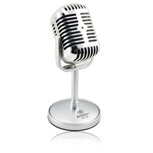 High Quality Vintage Satin Surface Plating Microphone For Singing Recording on Computer Wired Microfone Free Shipping