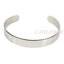 Free Shipping & Men's High Polished Solid 316L Stainless Steel Blank Cuff Bangle For Buyer Own Engraving(China (Mainland))