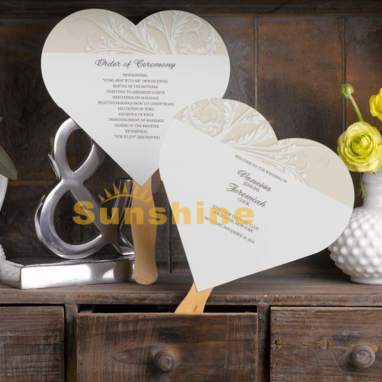 Wedding Program Fans Antique Design Heart Program Fans Wedding Invitations PFH 11998 Free