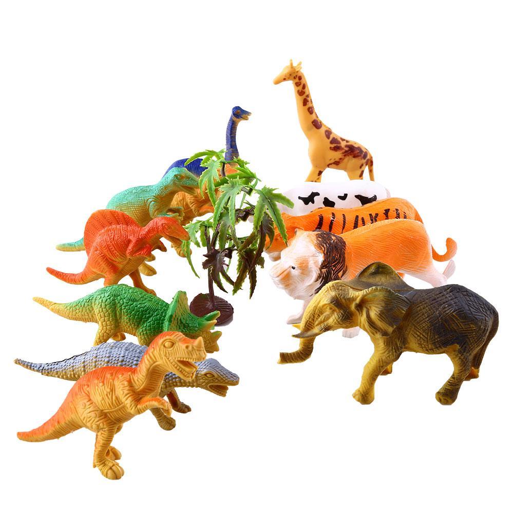 Creative Farm 12pcs Wild Animal Plastic Dinosaur Figure Educational Toys Gift(China (Mainland))