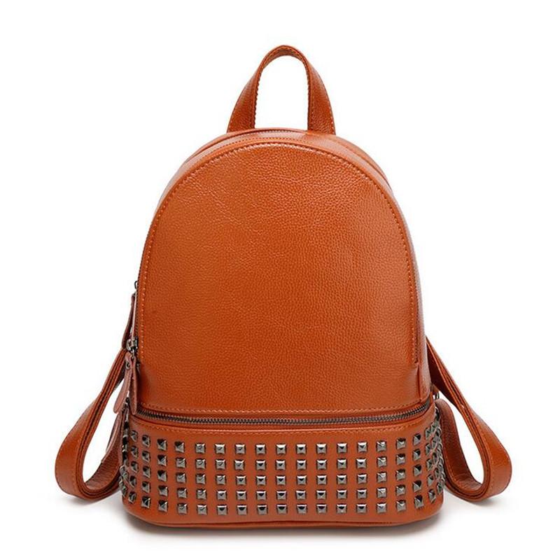2016 Famous Brands Women Backpack PU Leather Zipper Rivet School Travel Bag Girls Casual Daypacks Ladies Rucksack mochila SH205(China (Mainland))