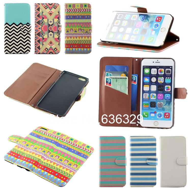 Cute Line National Style Art Card Wallet Leather Case iPhone 6 5.5'' Flip Cover Stand Holder Plus - MJ-Case Trading Co.,Ltd store