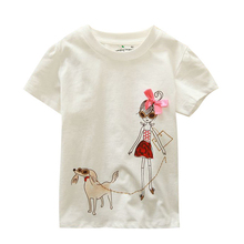 Special Offer 18 Months-6T Baby Girls T-Shirt Summer Children's Tops Clothing Lovely Cartoon Baby Girl And Dog Creative T-Shirt