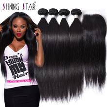 Shining Star Hair Store 8A Peruvian Virgin Hair with Closure 3/4 Bundles Straight Human Hair Bundles With Closure Straight  Hair(China (Mainland))