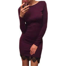 Buy 2017 Women casual vestidos de fiesta Elegant lace solid bodycon dress Christmas evening party long sleeve winter dress LX067 Limited) for $8.27 in AliExpress store