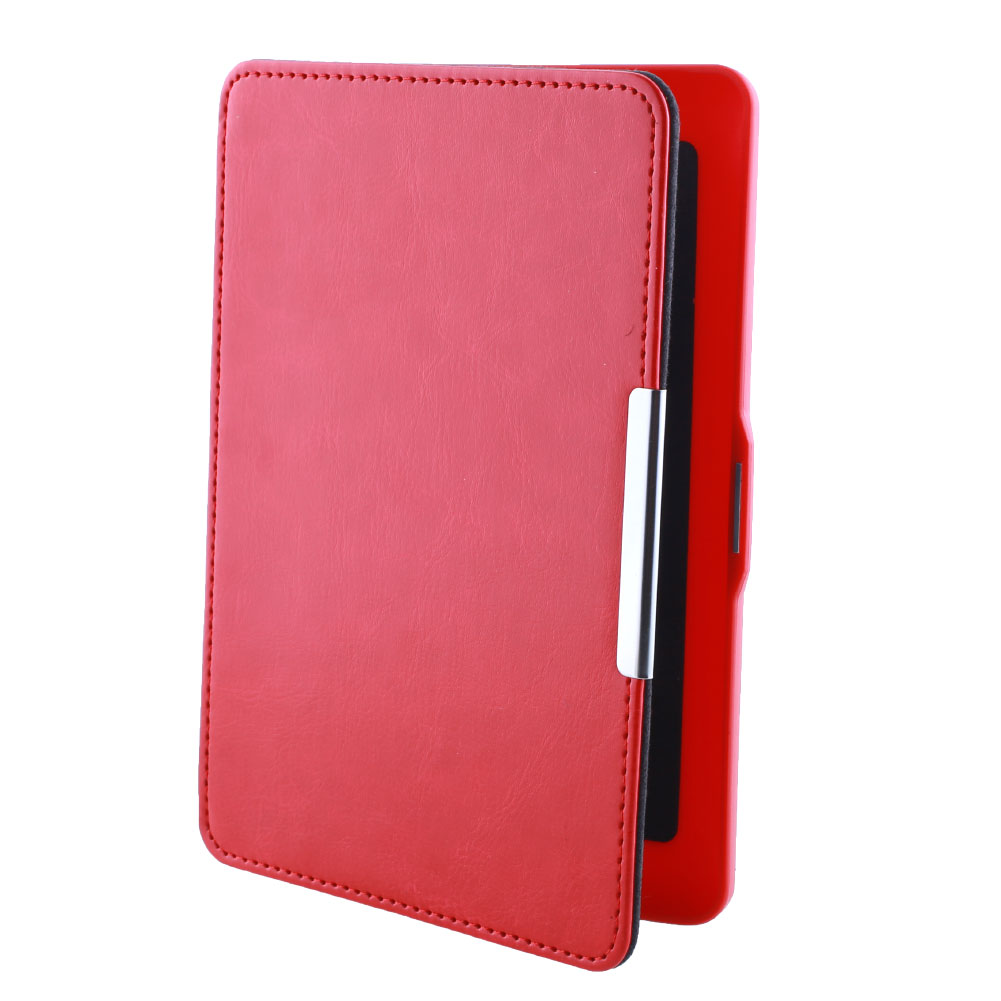 Magnetic Slim Auto Sleep Cover PU Leather Skin Flip Smart eBook Case For Amazon Kindle Paperwhite Red(China (Mainland))