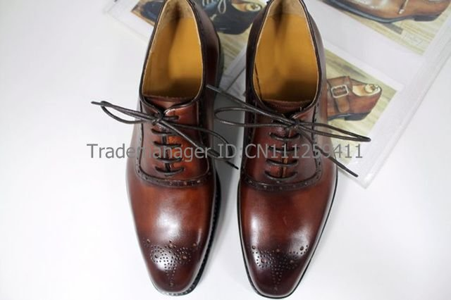Free shipping adhesive custom handmade pure genuine calf leather mens dress oxford color coffee shoe No.OX143<br><br>Aliexpress