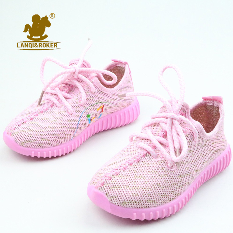 2016 Autumn Children Knitted Shoes Casual Boys Sport Shoes Soft Canvas Kids Yezzy Snekaers Girls Comfortable Breathable Sneakers(China (Mainland))