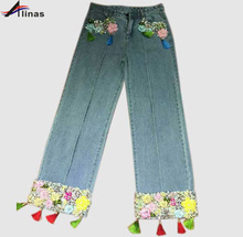 New Women Jeans 2017 High Quality Fashion Loose Woman Straight Jeans Pants(China (Mainland))