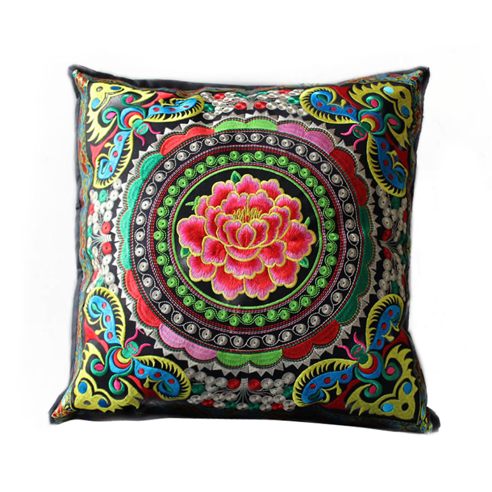Chinese Style Colorful Handmade Embroidered Linen Decorative Pillow Cover Machine Washable 45x45 ...