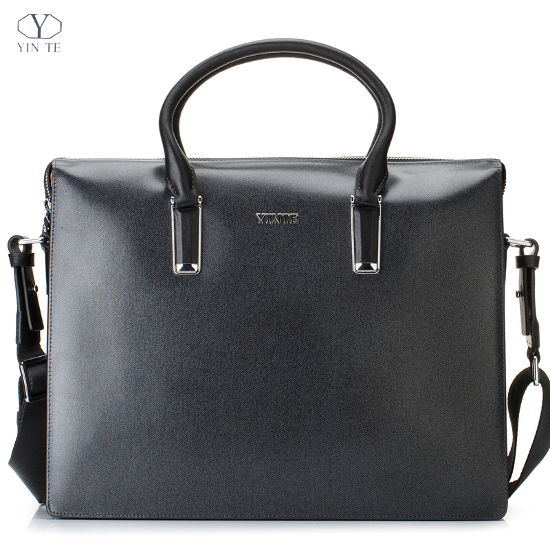2016 New Fashion Men's Bag Genuine Leather Blue Handbag High Quality Men Totes Suit Business/Office/Lawyer/Meeting T8611-4(China (Mainland))