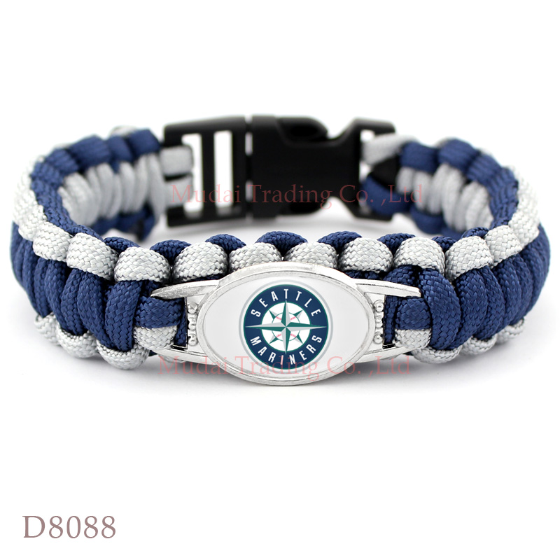 (10 Pieces/Lot) Seattle Baseball Team Mariners Paracord Survival Friendship Outdoor Camping Sports Bracelet Navy Blue Silver(China (Mainland))