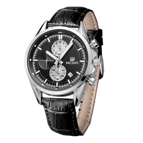 Chronograph Megir Watches Men Genuine Leather 30 M Water Resistant 6 Hand Work Calendar Relojes Hombre