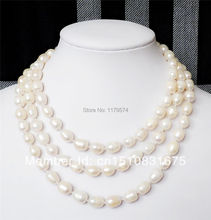 "8-9MM white Freshwater Cultured Rice Pearl Necklace 50""xu60(China (Mainland))"
