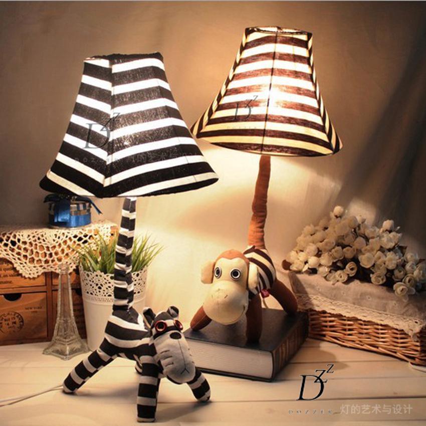 Small Decorative Lamp: Cute Cartoon Monkey Decorative Fabric Small Table Lamp