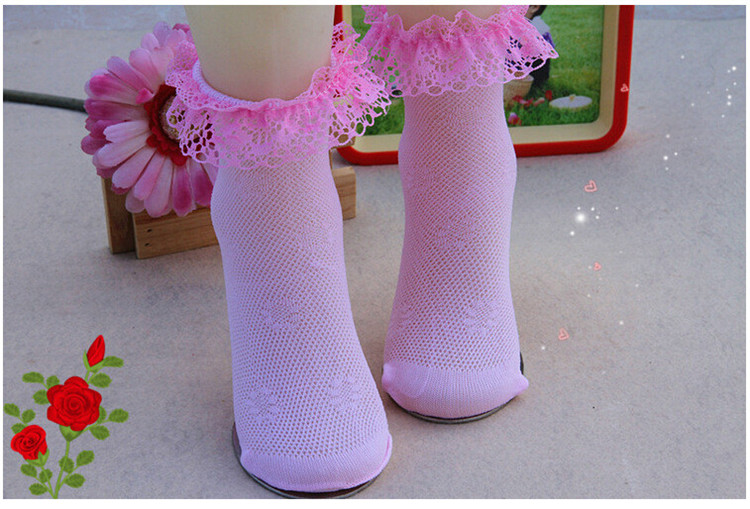 4 Pairslot Girls Socks Students Children fashion Lace Frilly Mesh Socks Summer 3-12 yrs high quality Solid Wild kids Socks CN (25)