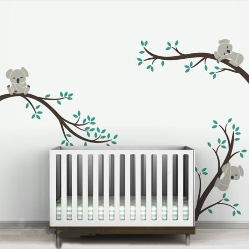 Oversize removable koala tree branches diy wall decals for Diy tree mural nursery