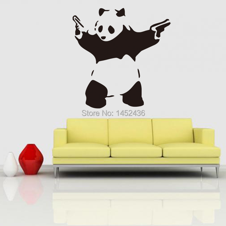 Banksy panda wall stickers diy home decoration removable for Temporary wall art