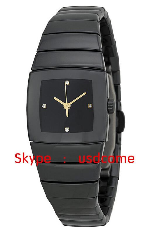 Hot Sales Black Ceramic Men Watch R13726712 Quartz date Diamond 32mm Sintra Ladies watch(China (Mainland))