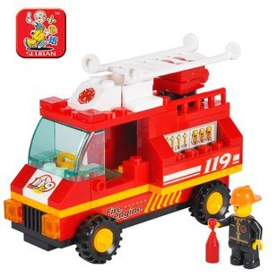 SLUBAN little Small Luban building block sets educational blocks SimCity fire engine children assembled puzzle toy free shipping(China (Mainland))