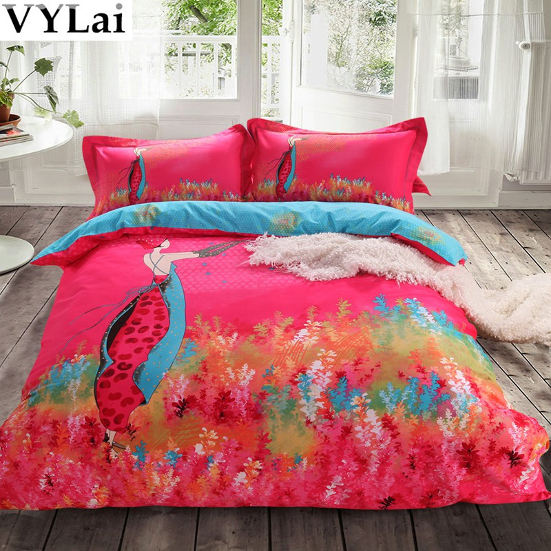 100 cotton bedding set peach brushed fabric luxury for Bedding fabric bedding