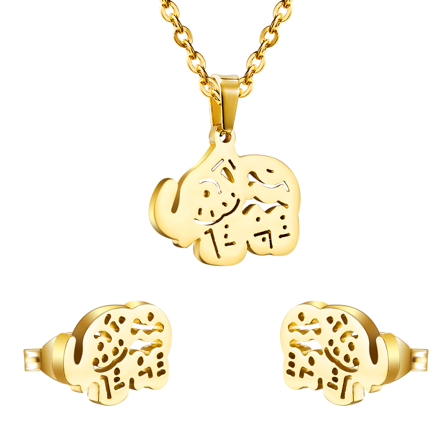18k gold plated stainless steel sets elephant jewelry set earrings and pendant ,indian bridal ethiopian african jewelry set(China (Mainland))