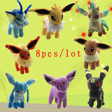 Japan 8pcs/set Pokemon Eevee Family Movies & TV Plush Toy Plush Toy Soft Stuffed Animals Doll Cute Peluche Pokemon Free Shipping