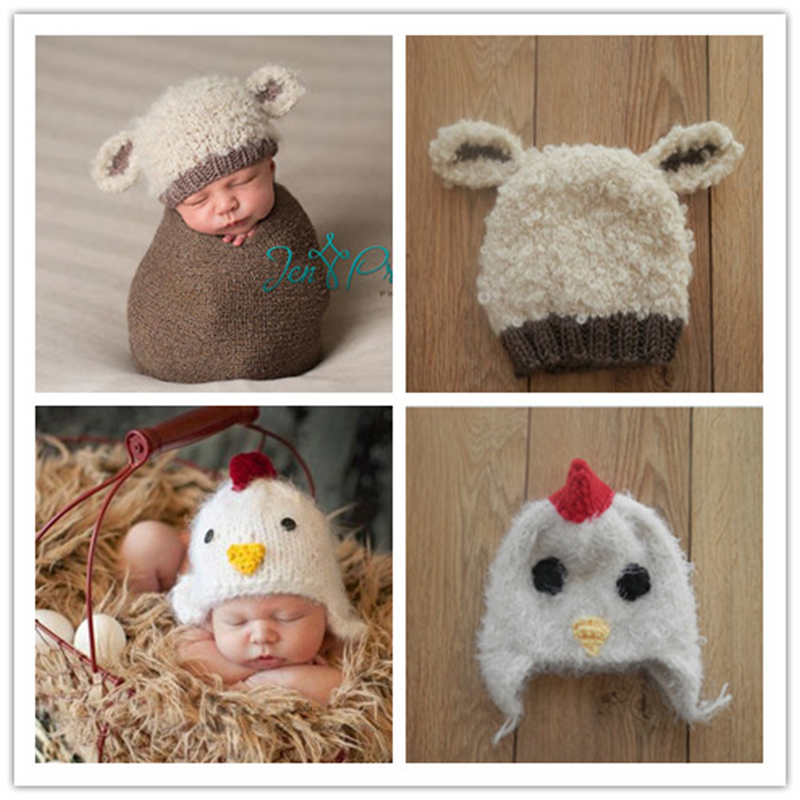 Cute Baby Infant Knitted Clothing Set Chick/bear Costume Crochet Photo Props 0-3 Month Newborn Photography Baby Hats Caps(China (Mainland))